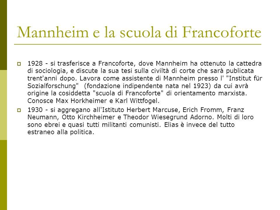 Mannheim e la scuola di Francoforte 1928 - si trasferisce a Francoforte, dove Mannheim ha ottenuto la cattedra di sociologia, e discute la sua tesi su