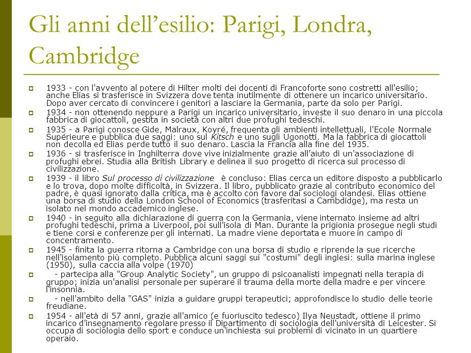 Gli anni dellesilio: Parigi, Londra, Cambridge 1933 - con l'avvento al potere di Hilter molti dei docenti di Francoforte sono costretti all'esilio; an