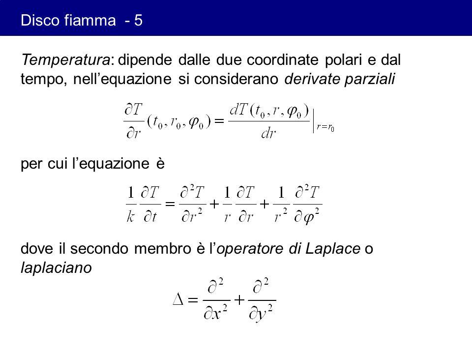 Temperatura: dipende dalle due coordinate polari e dal tempo, nellequazione si considerano derivate parziali per cui lequazione è dove il secondo memb