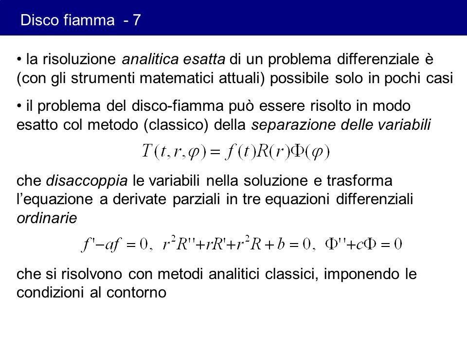 la risoluzione analitica esatta di un problema differenziale è (con gli strumenti matematici attuali) possibile solo in pochi casi il problema del dis