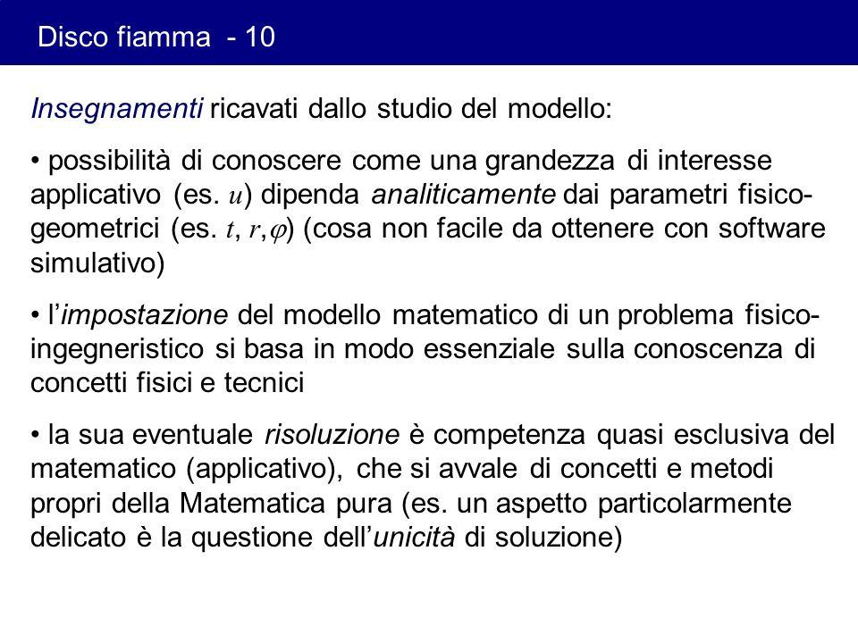 Insegnamenti ricavati dallo studio del modello: possibilità di conoscere come una grandezza di interesse applicativo (es. u ) dipenda analiticamente d