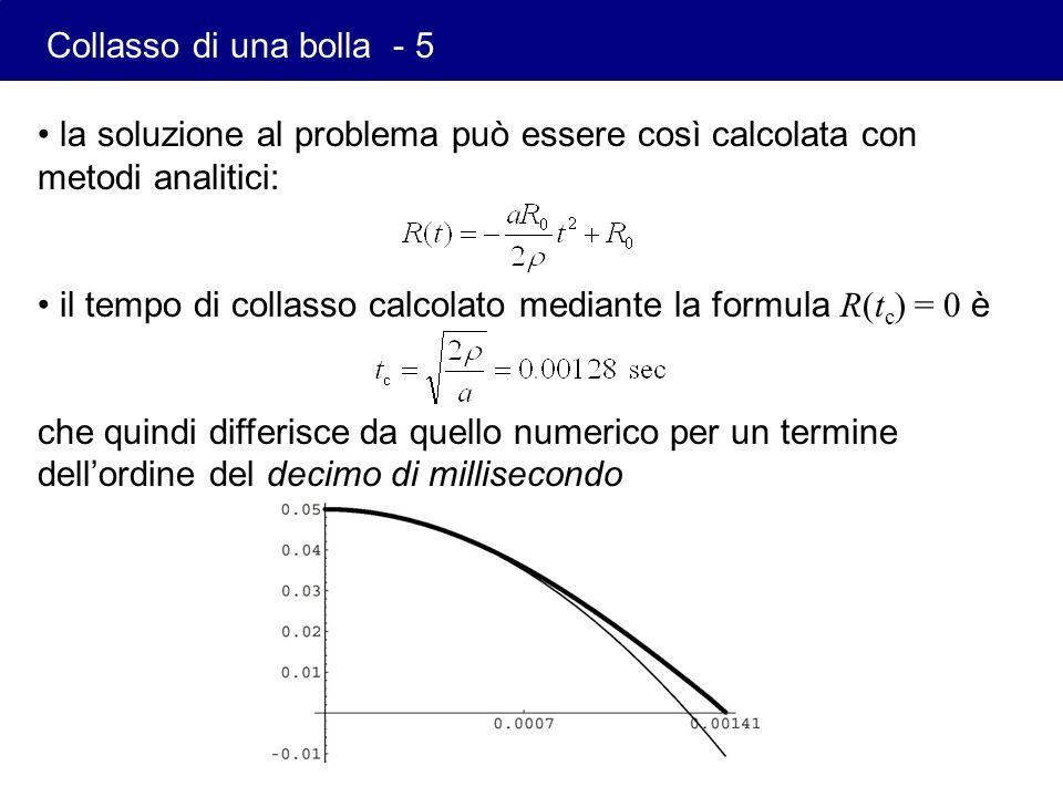 la soluzione al problema può essere così calcolata con metodi analitici: il tempo di collasso calcolato mediante la formula R(t c ) = 0 è che quindi d