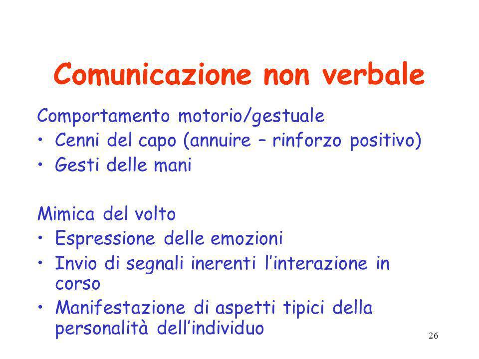 26 Comunicazione non verbale Comportamento motorio/gestuale Cenni del capo (annuire – rinforzo positivo) Gesti delle mani Mimica del volto Espressione