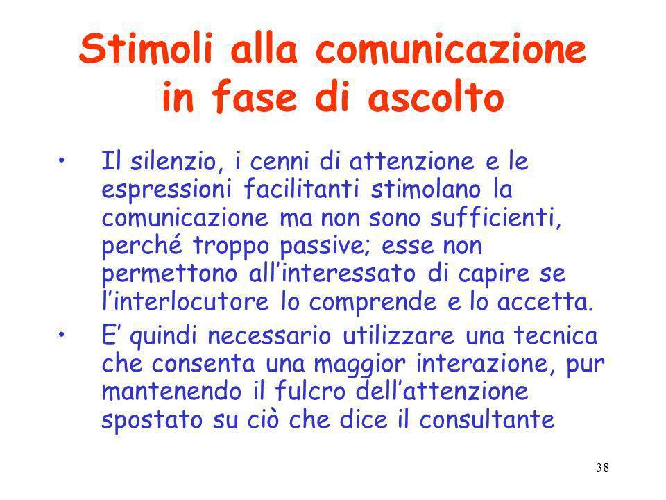 38 Stimoli alla comunicazione in fase di ascolto Il silenzio, i cenni di attenzione e le espressioni facilitanti stimolano la comunicazione ma non son