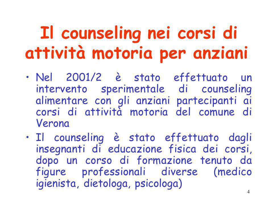 4 Il counseling nei corsi di attività motoria per anziani Nel 2001/2 è stato effettuato un intervento sperimentale di counseling alimentare con gli an