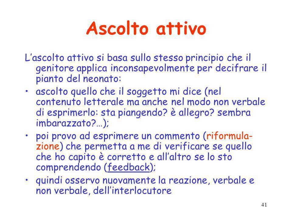 41 Ascolto attivo Lascolto attivo si basa sullo stesso principio che il genitore applica inconsapevolmente per decifrare il pianto del neonato: ascolt