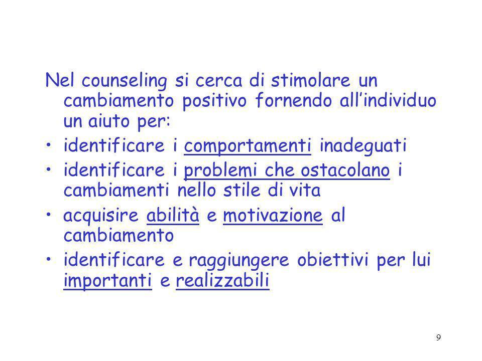 9 Nel counseling si cerca di stimolare un cambiamento positivo fornendo allindividuo un aiuto per: identificare i comportamenti inadeguati identificar