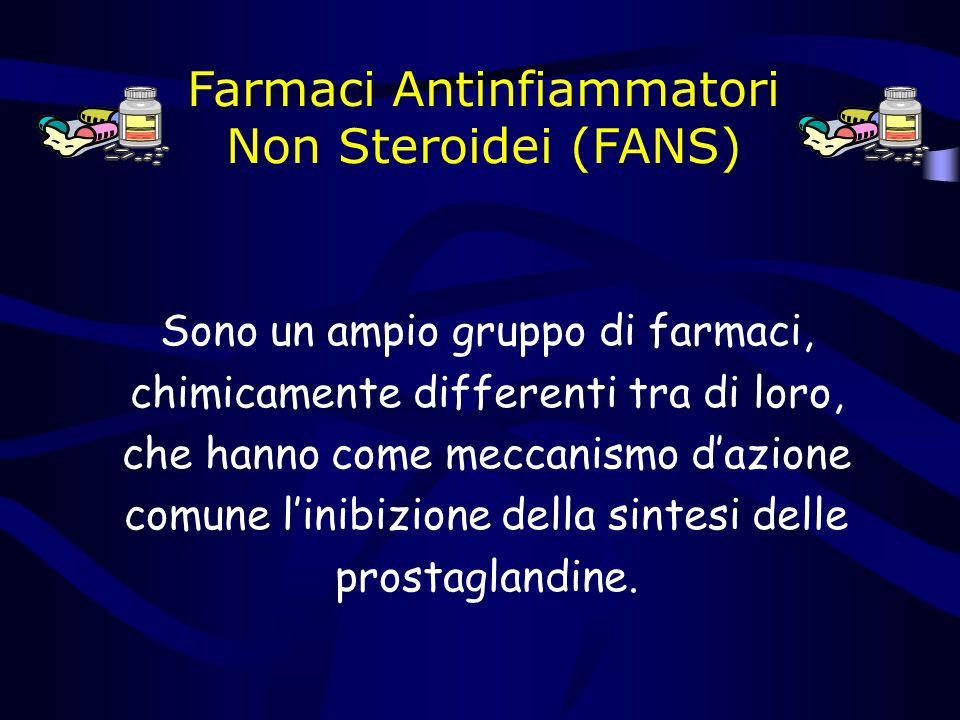 Farmaci Antinfiammatori Non Steroidei (FANS) Sono un ampio gruppo di farmaci, chimicamente differenti tra di loro, che hanno come meccanismo dazione comune linibizione della sintesi delle prostaglandine.