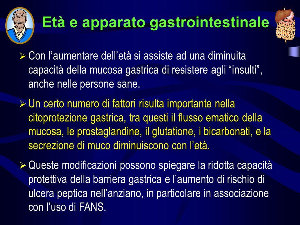 Età e apparato gastrointestinale Con laumentare delletà si assiste ad una diminuita capacità della mucosa gastrica di resistere agli insulti, anche nelle persone sane.