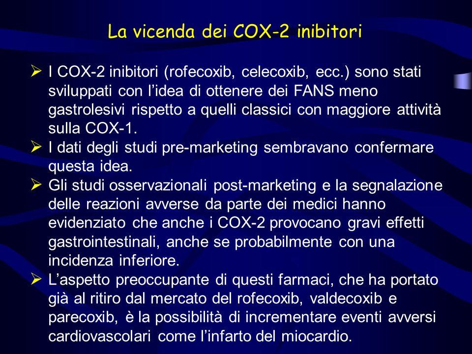 La vicenda dei COX-2 inibitori I COX-2 inibitori (rofecoxib, celecoxib, ecc.) sono stati sviluppati con lidea di ottenere dei FANS meno gastrolesivi rispetto a quelli classici con maggiore attività sulla COX-1.