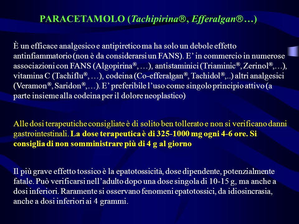 PARACETAMOLO (Tachipirina, Efferalgan …) È un efficace analgesico e antipiretico ma ha solo un debole effetto antinfiammatorio (non è da considerarsi un FANS).