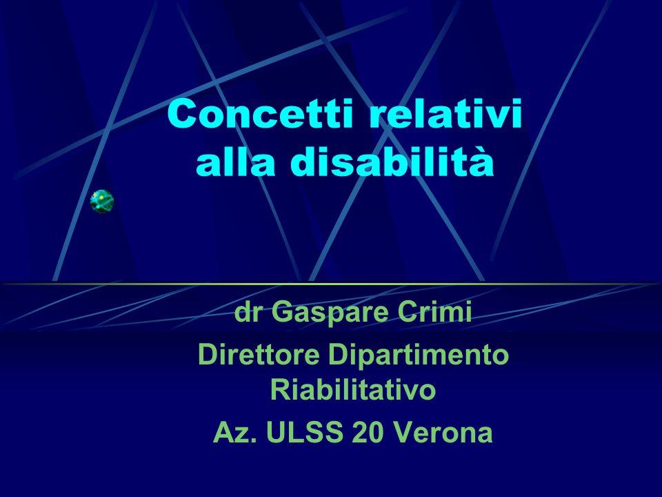Concetti relativi alla disabilità dr Gaspare Crimi Direttore Dipartimento Riabilitativo Az. ULSS 20 Verona