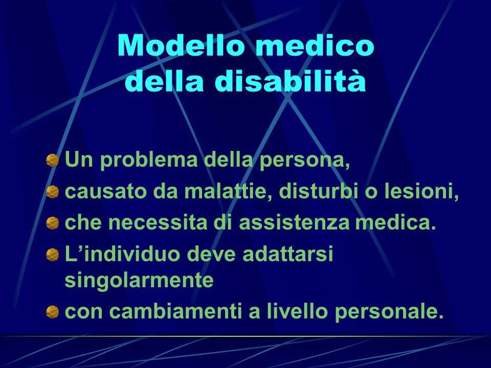 Modello medico della disabilità Un problema della persona, causato da malattie, disturbi o lesioni, che necessita di assistenza medica. Lindividuo dev