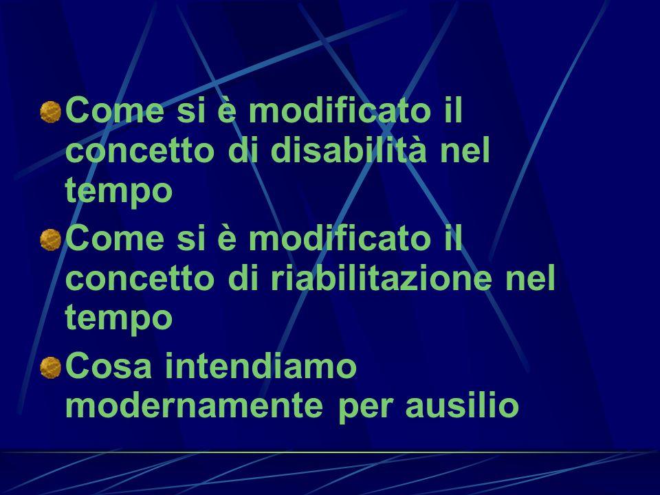 Come si è modificato il concetto di disabilità nel tempo Come si è modificato il concetto di riabilitazione nel tempo Cosa intendiamo modernamente per