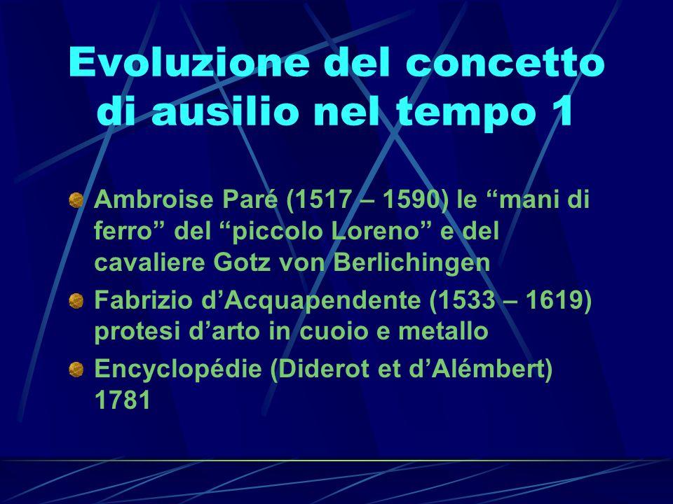 Evoluzione del concetto di ausilio nel tempo 1 Ambroise Paré (1517 – 1590) le mani di ferro del piccolo Loreno e del cavaliere Gotz von Berlichingen F