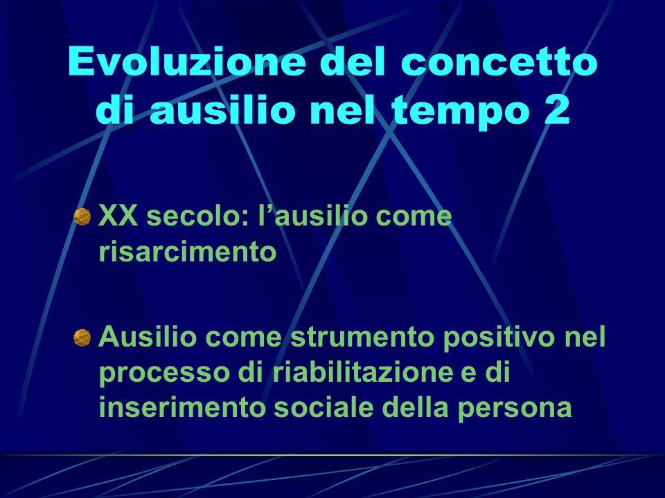 Evoluzione del concetto di ausilio nel tempo 2 XX secolo: lausilio come risarcimento Ausilio come strumento positivo nel processo di riabilitazione e