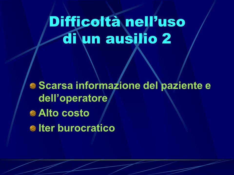 Difficoltà nelluso di un ausilio 2 Scarsa informazione del paziente e delloperatore Alto costo Iter burocratico