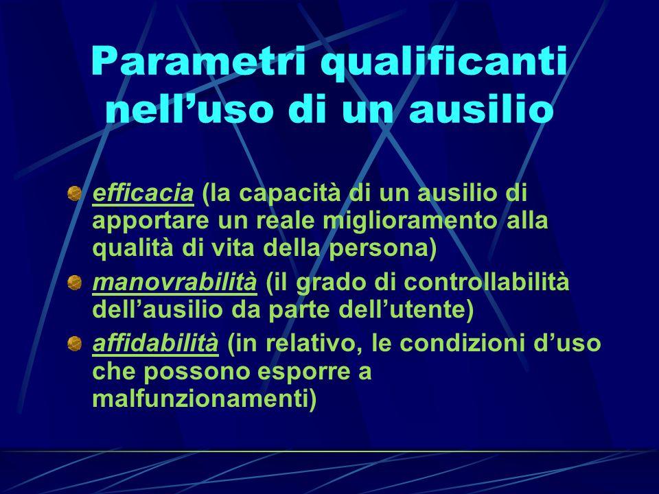 Parametri qualificanti nelluso di un ausilio efficacia (la capacità di un ausilio di apportare un reale miglioramento alla qualità di vita della perso