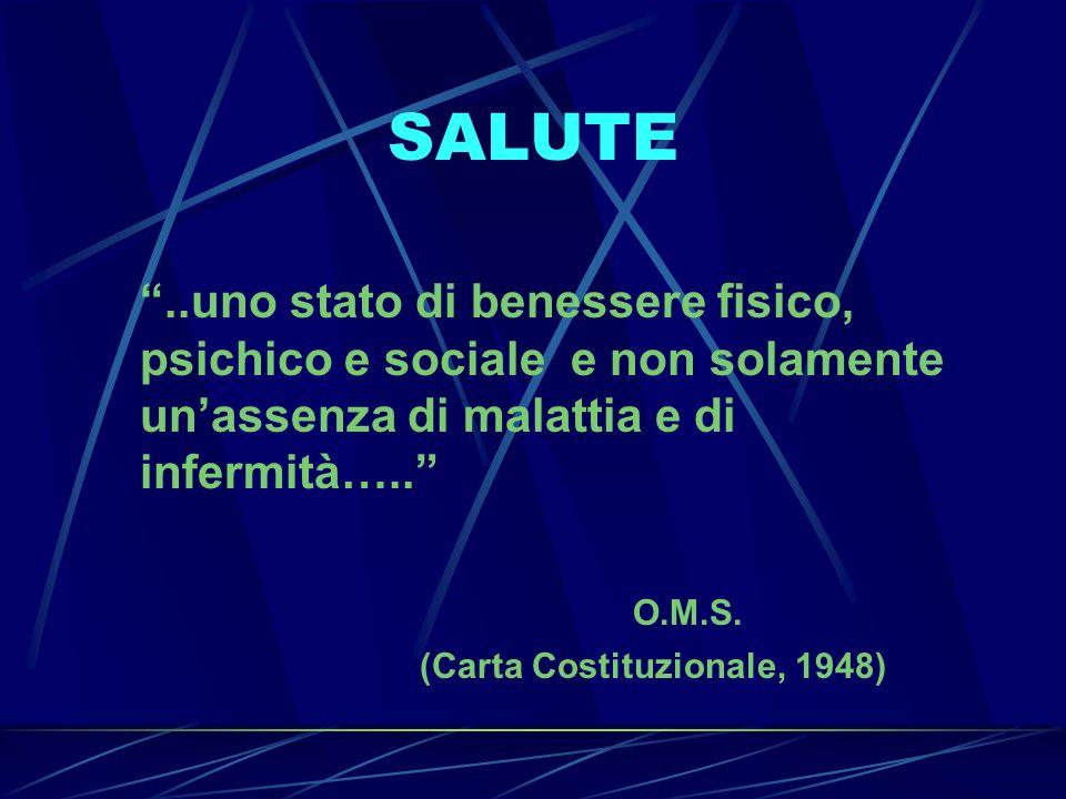 SALUTE..uno stato di benessere fisico, psichico e sociale e non solamente unassenza di malattia e di infermità….. O.M.S. (Carta Costituzionale, 1948)