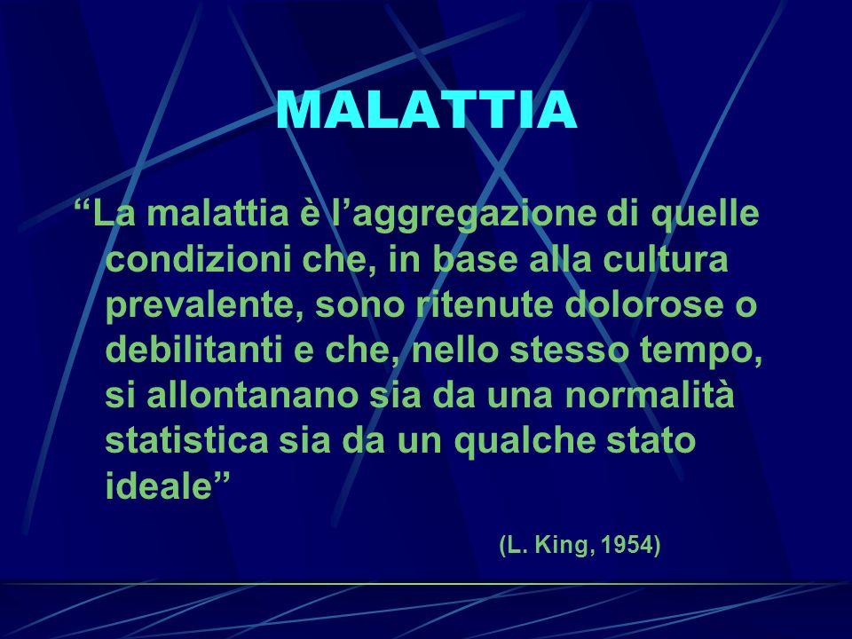 MALATTIA La malattia è laggregazione di quelle condizioni che, in base alla cultura prevalente, sono ritenute dolorose o debilitanti e che, nello stes