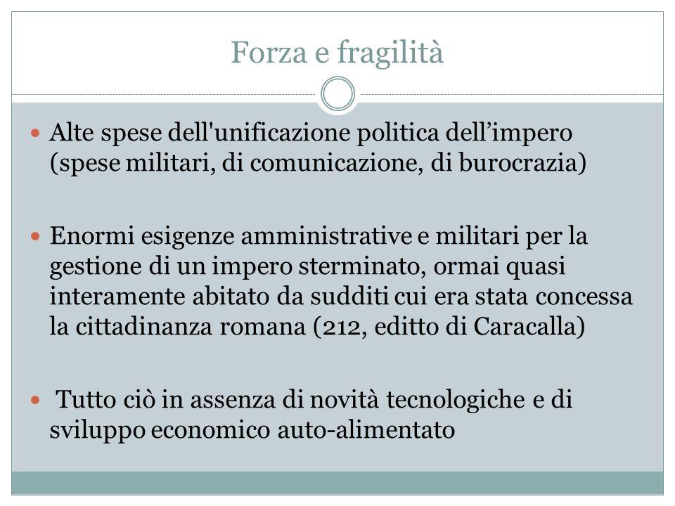Forza e fragilità Alte spese dell'unificazione politica dellimpero (spese militari, di comunicazione, di burocrazia) Enormi esigenze amministrative e