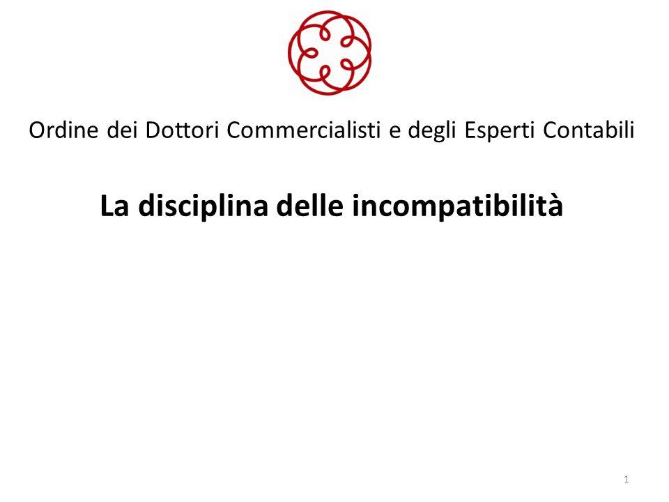 Ordine dei Dottori Commercialisti e degli Esperti Contabili La disciplina delle incompatibilità 1