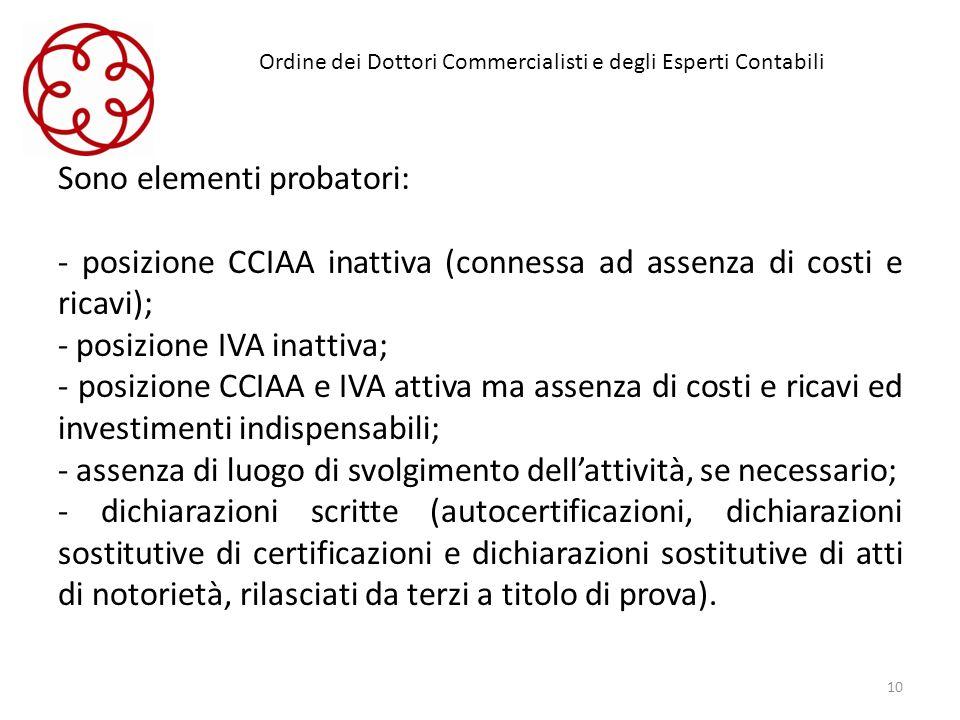 Ordine dei Dottori Commercialisti e degli Esperti Contabili Sono elementi probatori: posizione CCIAA inattiva (connessa ad assenza di costi e ricavi);