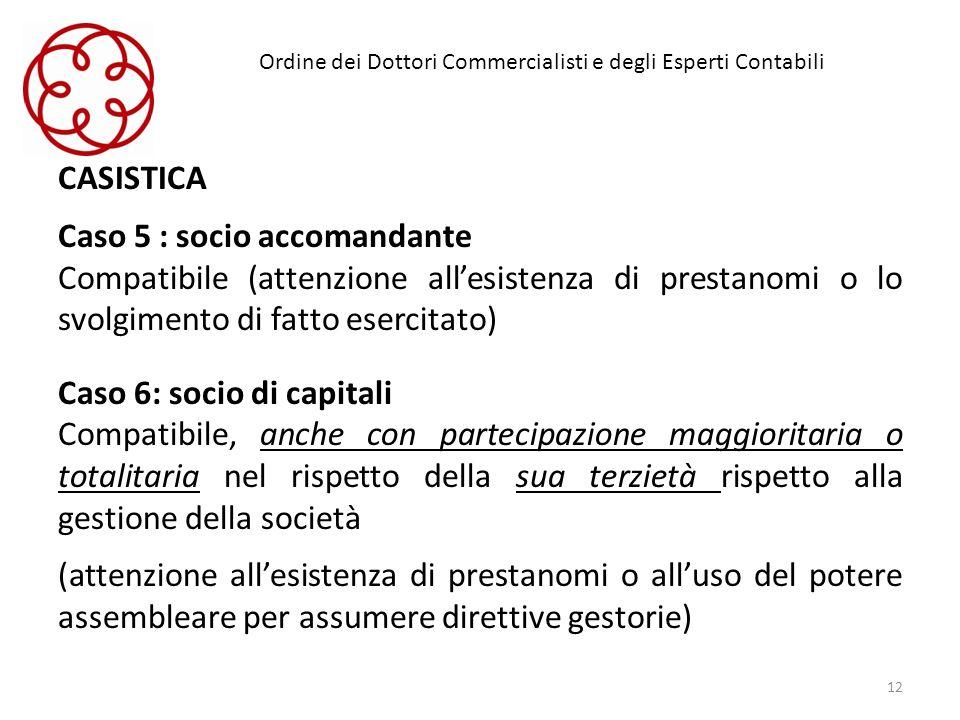 Ordine dei Dottori Commercialisti e degli Esperti Contabili CASISTICA Caso 5 : socio accomandante Compatibile (attenzione allesistenza di prestanomi o