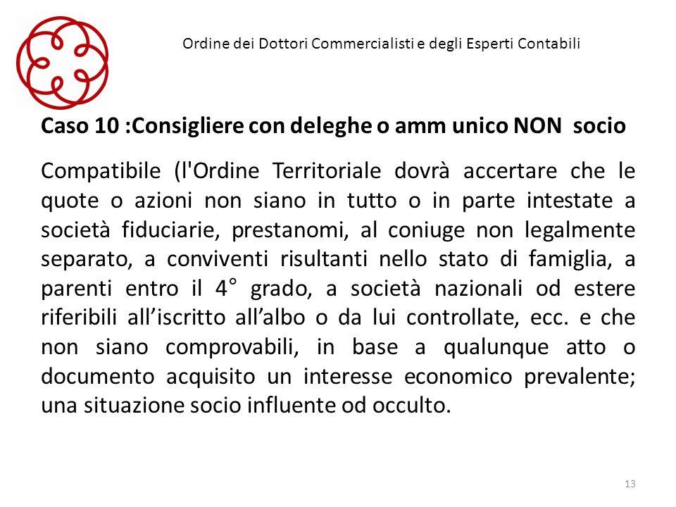 Ordine dei Dottori Commercialisti e degli Esperti Contabili Caso 10 :Consigliere con deleghe o amm unico NON socio Compatibile (l'Ordine Territoriale