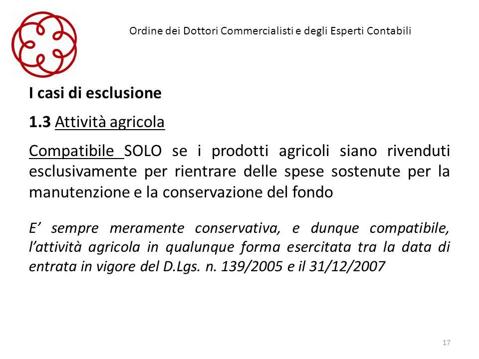 Ordine dei Dottori Commercialisti e degli Esperti Contabili I casi di esclusione 1.3 Attività agricola Compatibile SOLO se i prodotti agricoli siano r
