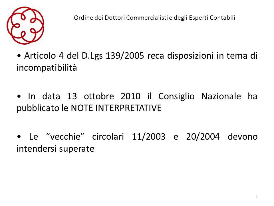 Ordine dei Dottori Commercialisti e degli Esperti Contabili Articolo 4 del D.Lgs 139/2005 reca disposizioni in tema di incompatibilità In data 13 otto