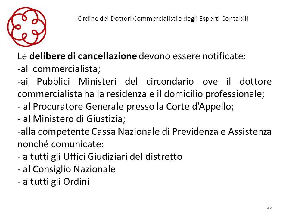 Ordine dei Dottori Commercialisti e degli Esperti Contabili Le delibere di cancellazione devono essere notificate: -al commercialista; -ai Pubblici Mi