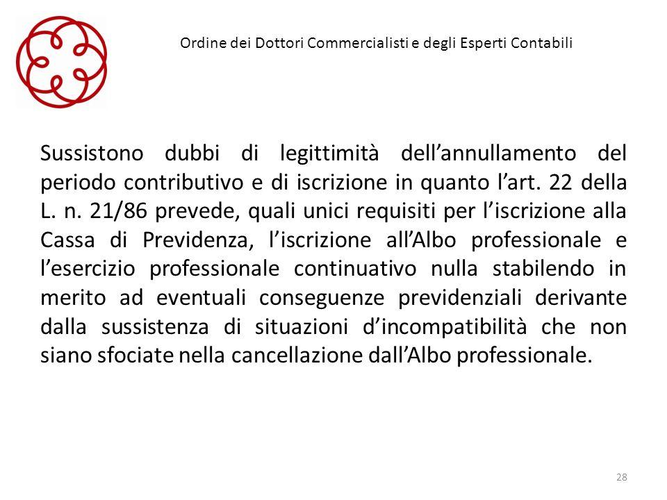 Ordine dei Dottori Commercialisti e degli Esperti Contabili Sussistono dubbi di legittimità dellannullamento del periodo contributivo e di iscrizione