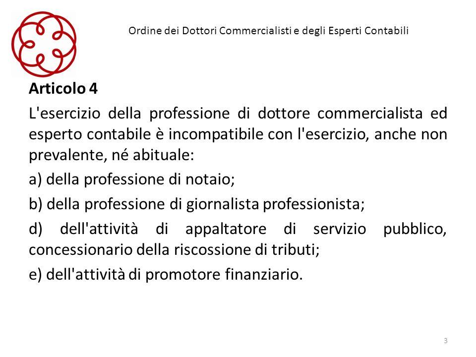 Ordine dei Dottori Commercialisti e degli Esperti Contabili Articolo 4 L'esercizio della professione di dottore commercialista ed esperto contabile è