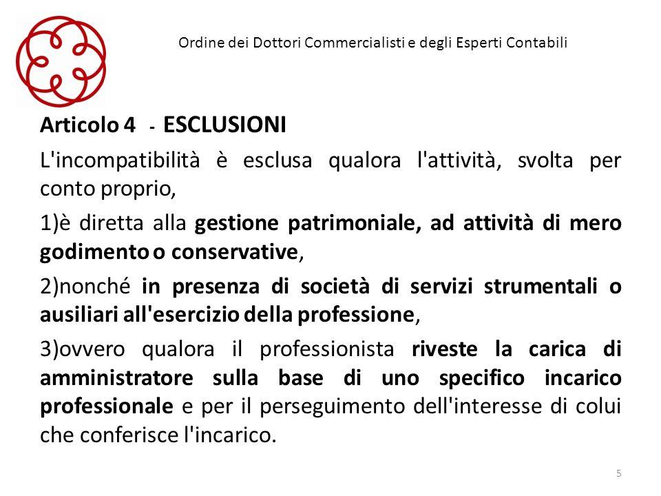 Ordine dei Dottori Commercialisti e degli Esperti Contabili Articolo 4 - ESCLUSIONI L'incompatibilità è esclusa qualora l'attività, svolta per conto p