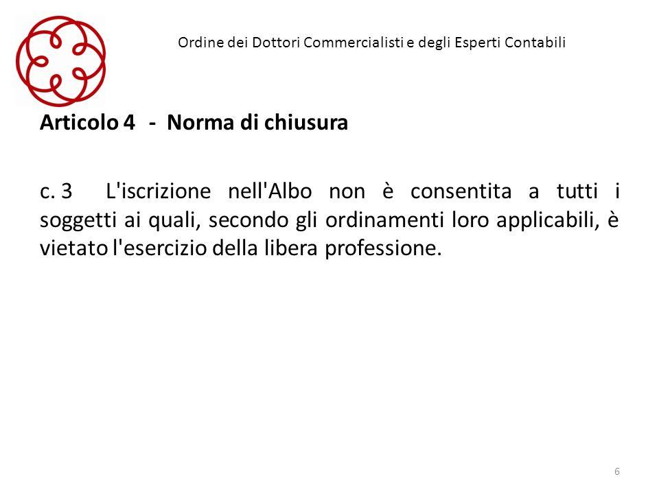 Ordine dei Dottori Commercialisti e degli Esperti Contabili Articolo 4 - Norma di chiusura c. 3L'iscrizione nell'Albo non è consentita a tutti i sogge