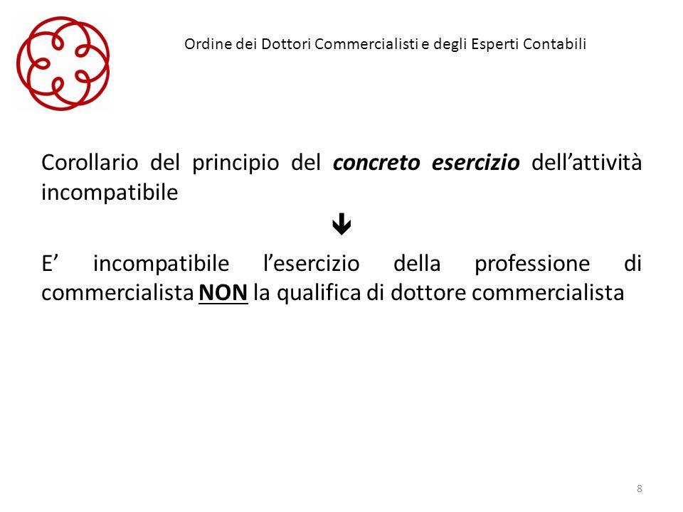 Ordine dei Dottori Commercialisti e degli Esperti Contabili Corollario del principio del concreto esercizio dellattività incompatibile E incompatibile