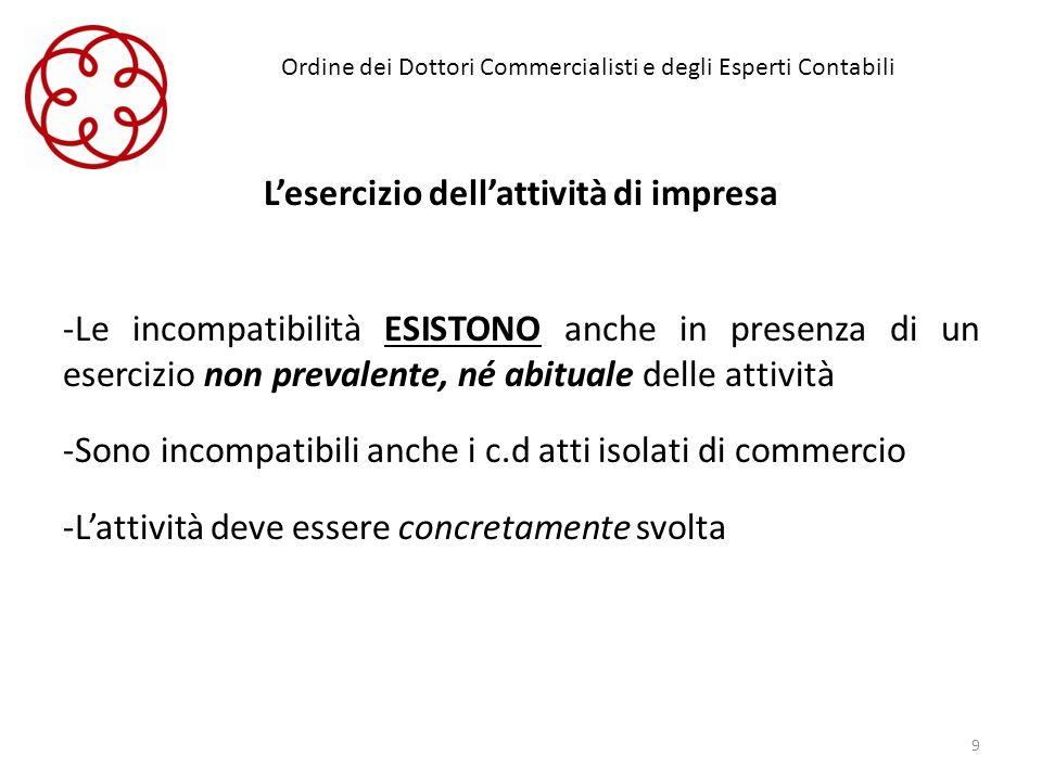 Ordine dei Dottori Commercialisti e degli Esperti Contabili Lesercizio dellattività di impresa -Le incompatibilità ESISTONO anche in presenza di un es