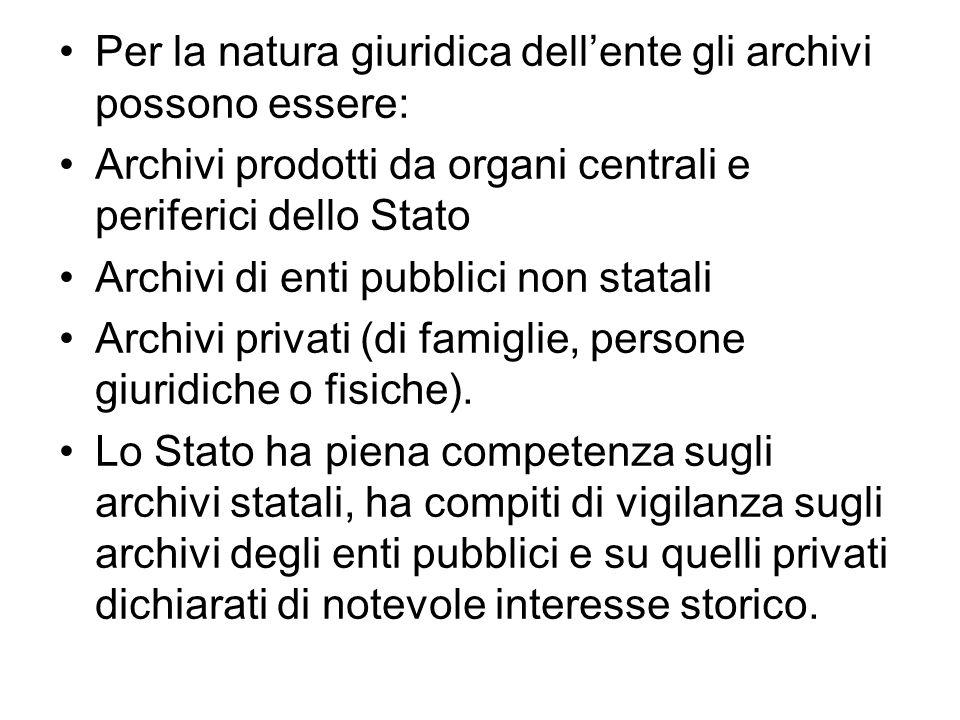 Per la natura giuridica dellente gli archivi possono essere: Archivi prodotti da organi centrali e periferici dello Stato Archivi di enti pubblici non statali Archivi privati (di famiglie, persone giuridiche o fisiche).