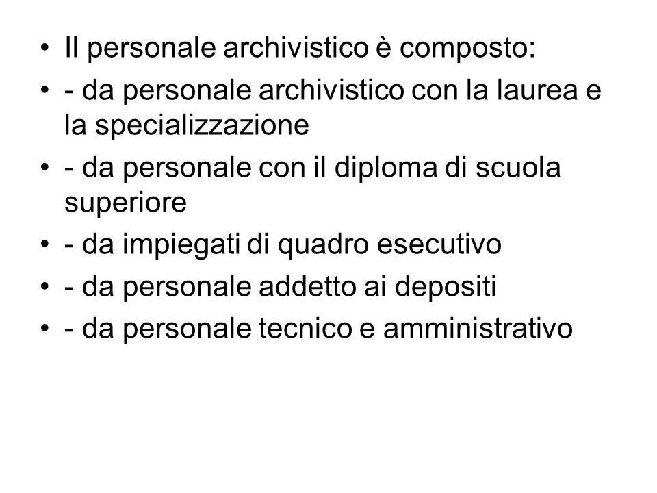 Il personale archivistico è composto: - da personale archivistico con la laurea e la specializzazione - da personale con il diploma di scuola superiore - da impiegati di quadro esecutivo - da personale addetto ai depositi - da personale tecnico e amministrativo