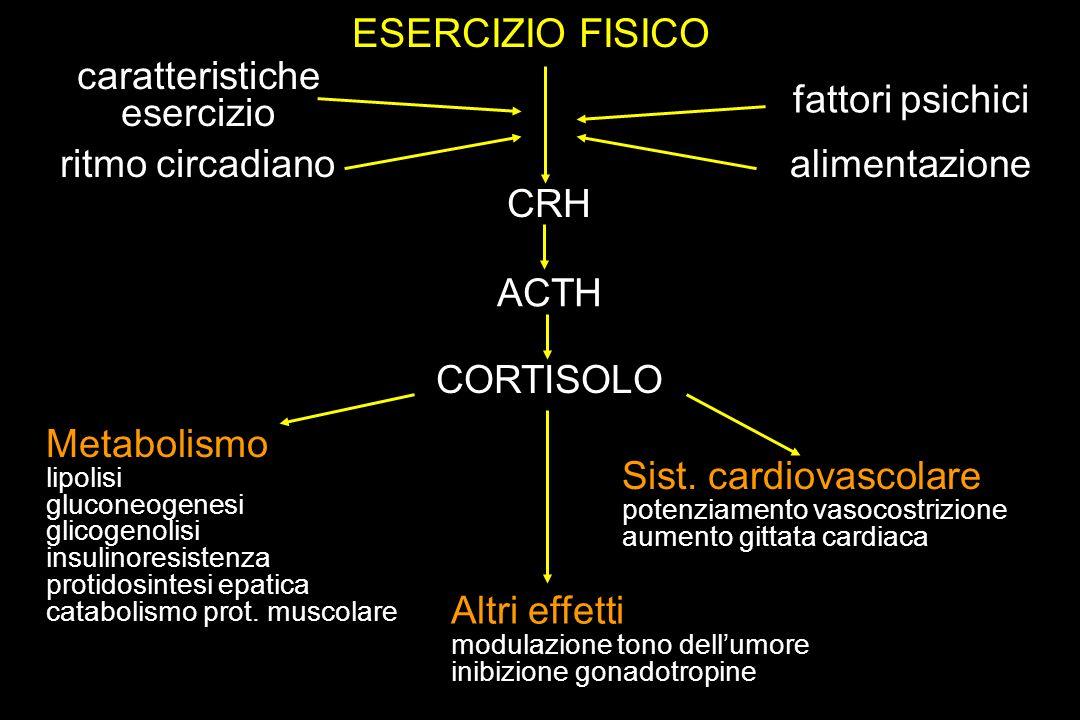 ESERCIZIO FISICO caratteristiche esercizio ritmo circadiano fattori psichici alimentazione CRH ACTH CORTISOLO Metabolismo lipolisi gluconeogenesi glic