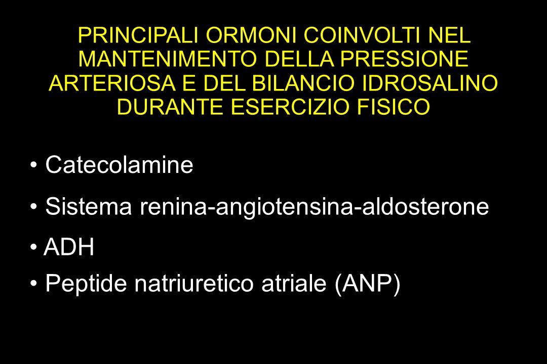 PRINCIPALI ORMONI COINVOLTI NEL MANTENIMENTO DELLA PRESSIONE ARTERIOSA E DEL BILANCIO IDROSALINO DURANTE ESERCIZIO FISICO Catecolamine Sistema renina-angiotensina-aldosterone Peptide natriuretico atriale (ANP) ADH