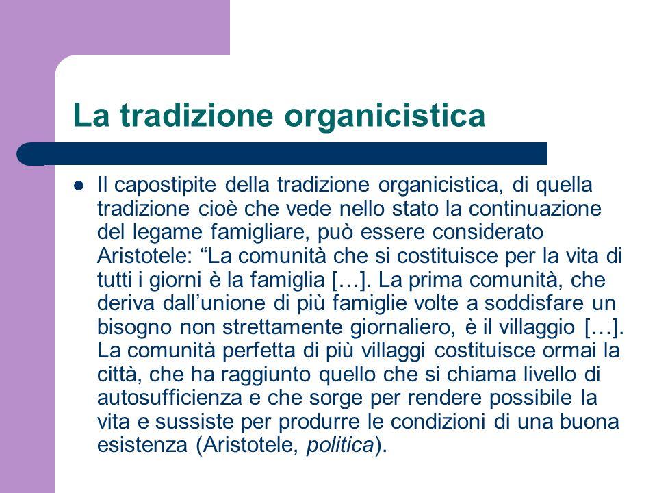 La tradizione organicistica Il capostipite della tradizione organicistica, di quella tradizione cioè che vede nello stato la continuazione del legame