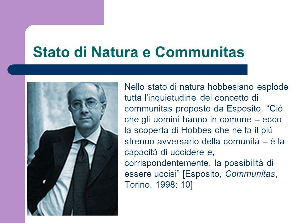 Stato di Natura e Communitas Nello stato di natura hobbesiano esplode tutta linquietudine del concetto di communitas proposto da Esposito. Ciò che gli