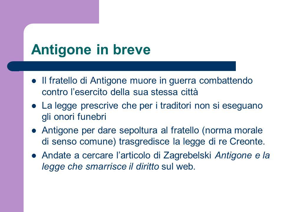 Antigone in breve Il fratello di Antigone muore in guerra combattendo contro lesercito della sua stessa città La legge prescrive che per i traditori n