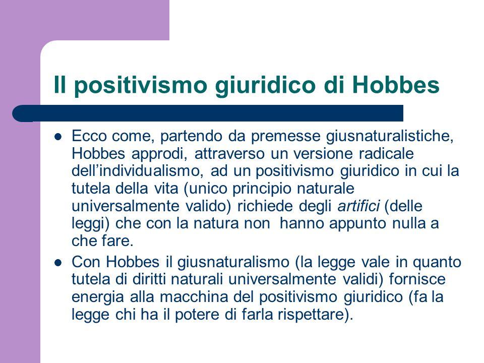 Il positivismo giuridico di Hobbes Ecco come, partendo da premesse giusnaturalistiche, Hobbes approdi, attraverso un versione radicale dellindividuali