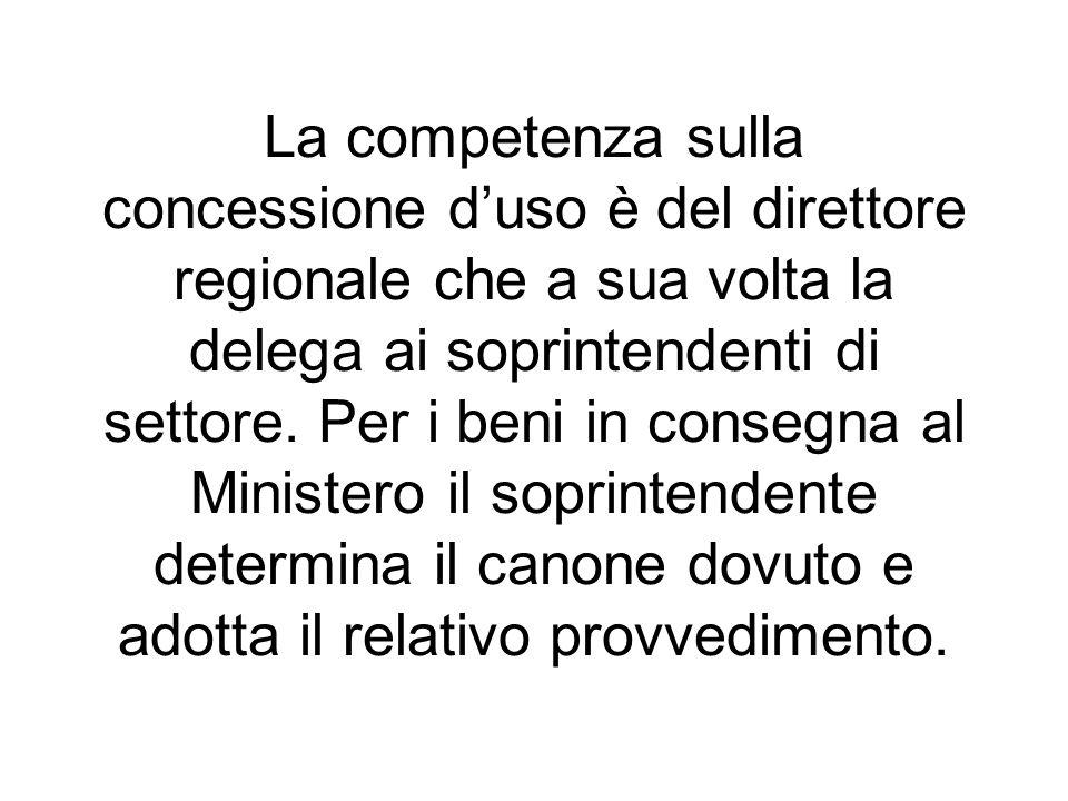 La competenza sulla concessione duso è del direttore regionale che a sua volta la delega ai soprintendenti di settore. Per i beni in consegna al Minis