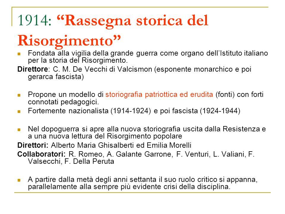 1914: Rassegna storica del Risorgimento Fondata alla vigilia della grande guerra come organo dellIstituto italiano per la storia del Risorgimento. Dir
