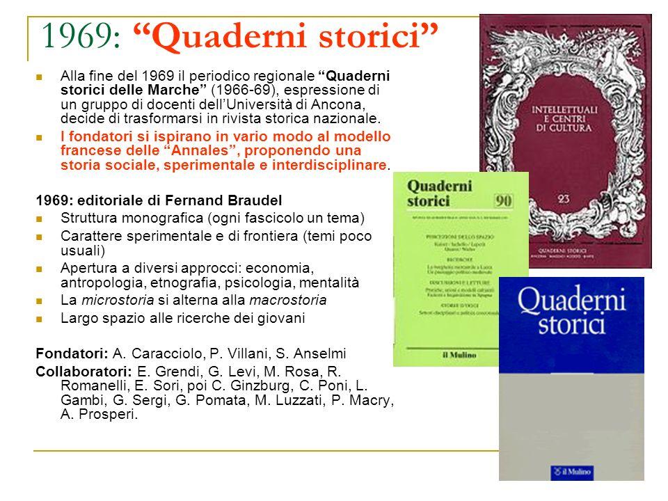 1969: Quaderni storici Alla fine del 1969 il periodico regionale Quaderni storici delle Marche (1966-69), espressione di un gruppo di docenti dellUniv