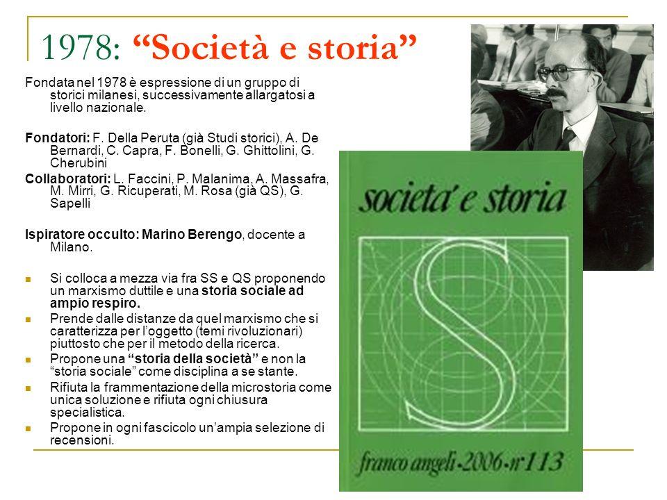 1978: Società e storia Fondata nel 1978 è espressione di un gruppo di storici milanesi, successivamente allargatosi a livello nazionale. Fondatori: F.